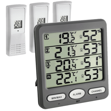 TFA 30.3054.10 - Klima Monitor Thermo- / hygrometer met 3 draadloze sensoren